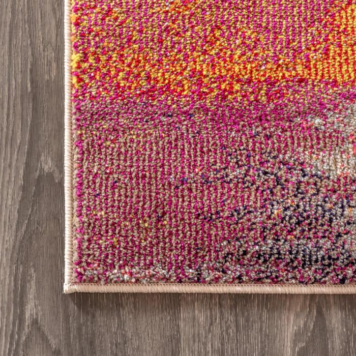 Contemporary POP Modern Abstract Brushstroke Cream/Pink Runner Rug