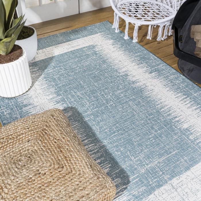 Scandi Minimalist Border Indoor/Outdoor Aqua/Ivory Area Rug