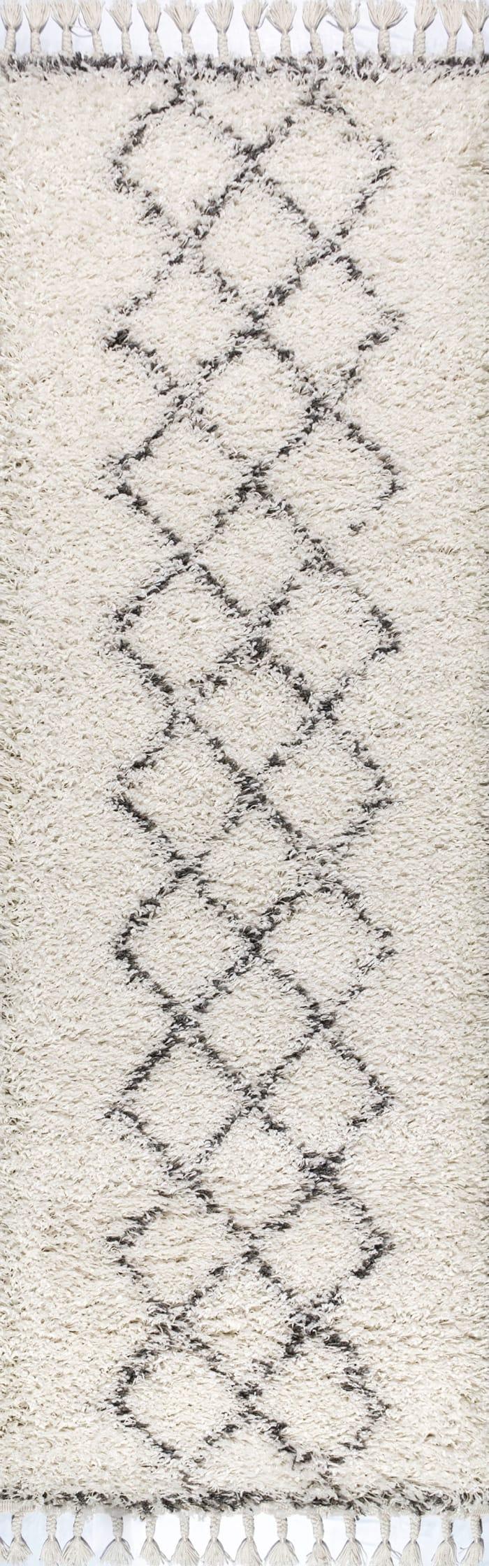 Shag Plush Tassel Moroccan Tribal Geometric Trellis Cream/Grey Runner Rug