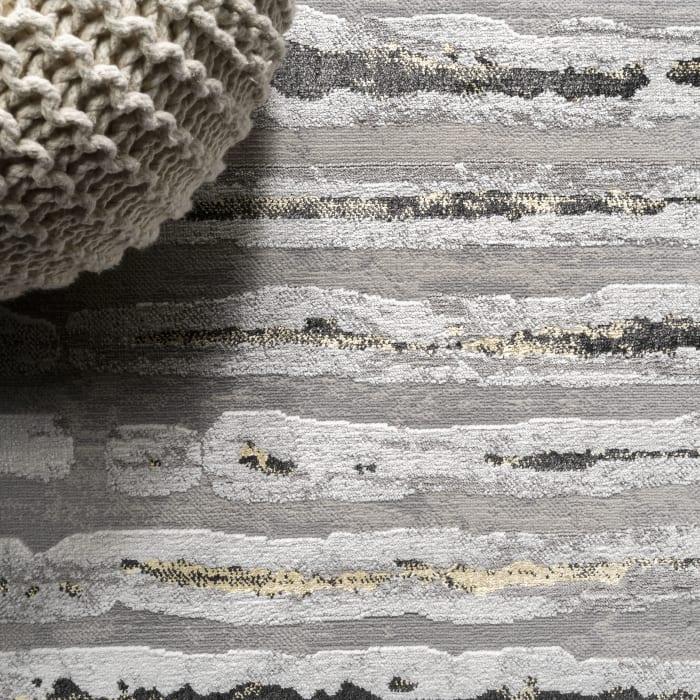 Modern Stripe Gray/Black Area Rug