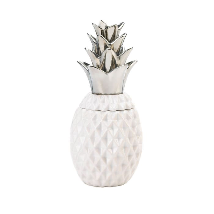 Porcelain Silver Topped Pineapple Jar