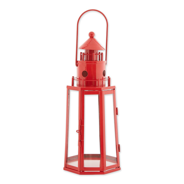 Red Lighthouse Hanging Candle Lantern