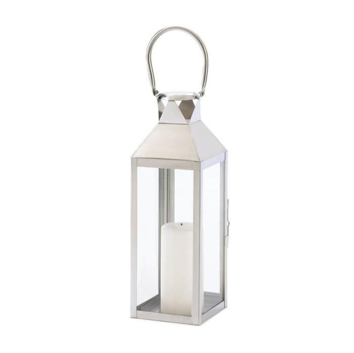 Sleek White Metal Manhattan Candle Lantern with Metal Handle