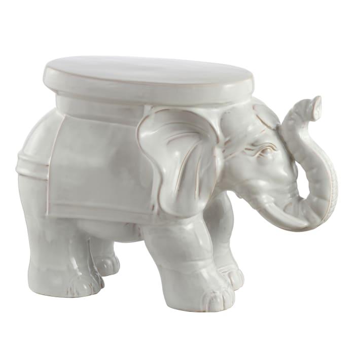 White Elephant Ceramic Garden Stool, Antique White