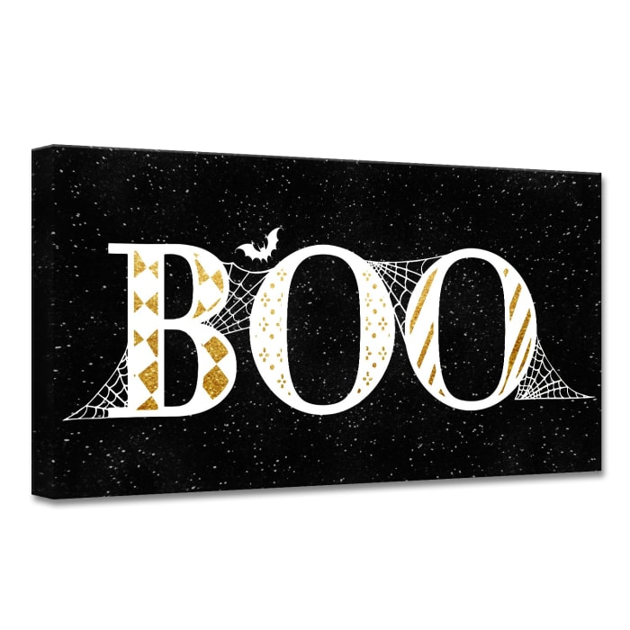 Boo Glam Black Halloween Canvas Wall Art