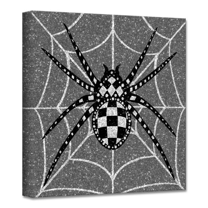 Glamoween Spider II Gray Halloween Canvas Wall Art