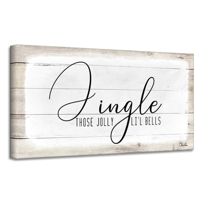 Jingle White Holiday Canvas Wall Art