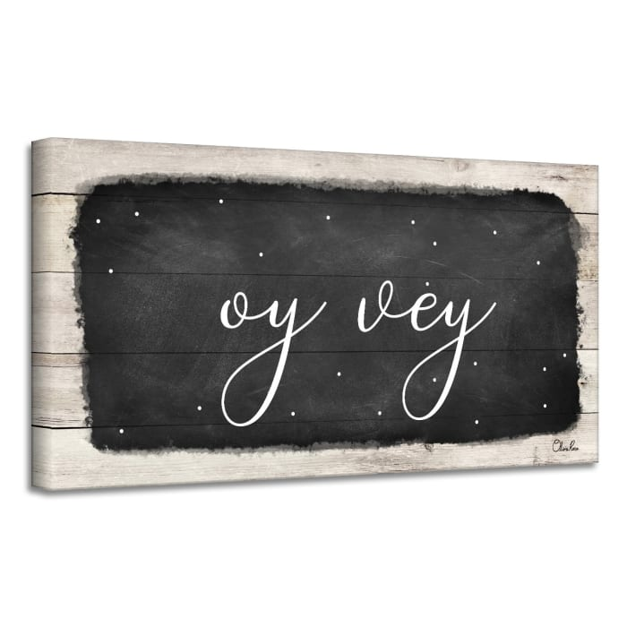 Oy Vey I Black Hanukkah Canvas Wall Art