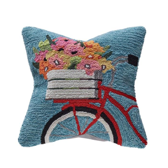 Bike Ride Blue Outdoor Pillow