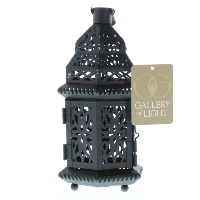 Black Metal Moroccan Style Candle Lantern with Intricate Cutouts