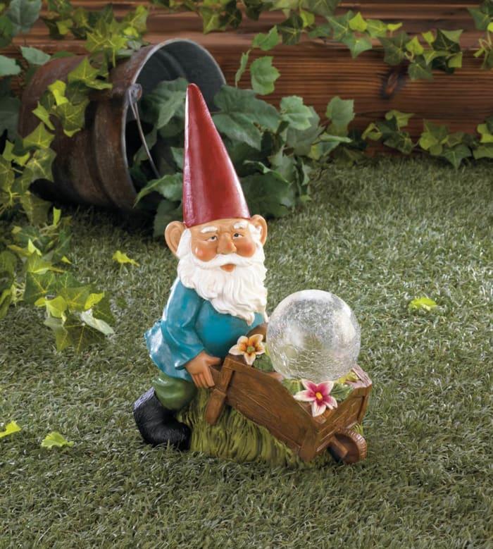 Gnome with Wheel Barrow Solar Statue
