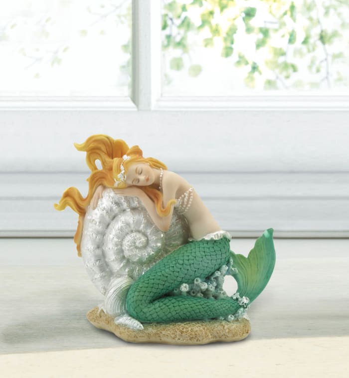 Mermaid Sleeping on Seashell Figurine with Pearl Shell Details