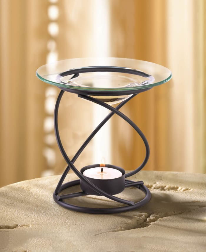 Modern Spiral Metal and Glass Candle Oil Warmer