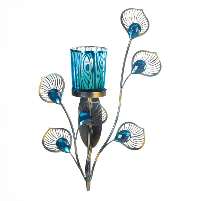 Peacock Inspired Single Candle Wall Sconce