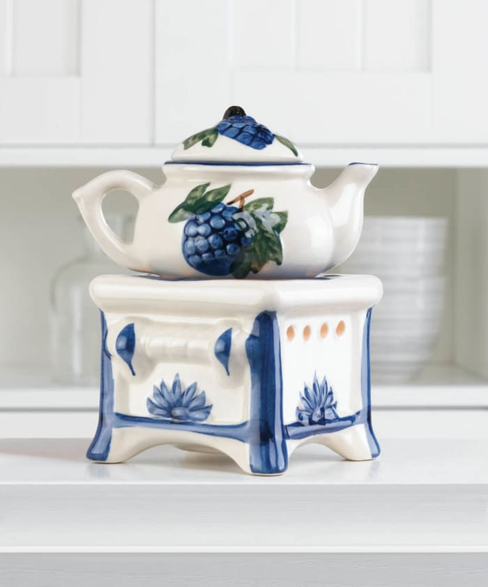 Porcelain Teapot Stovetop Candle Oil Warmer