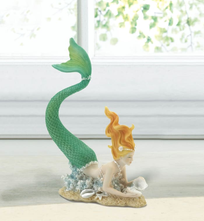 Resting Tail Up Mermaid Figurine with Pearl Shell Details