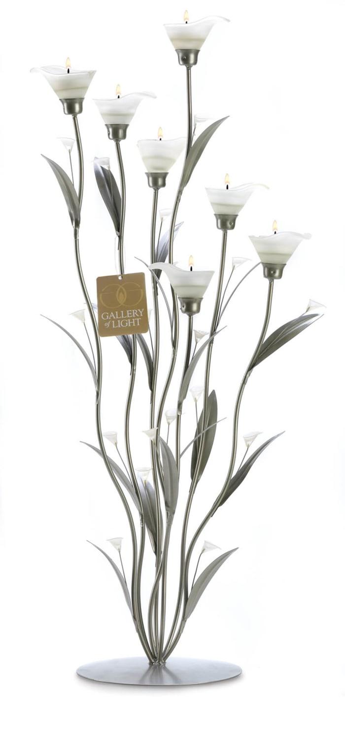 Silver Calla Lily Candleholder