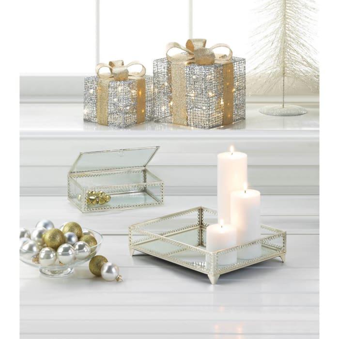 Silver Trim Glass Tray