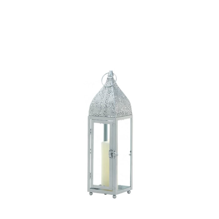 Small Silver Metal Rectangular Moroccan Style Candle Lantern