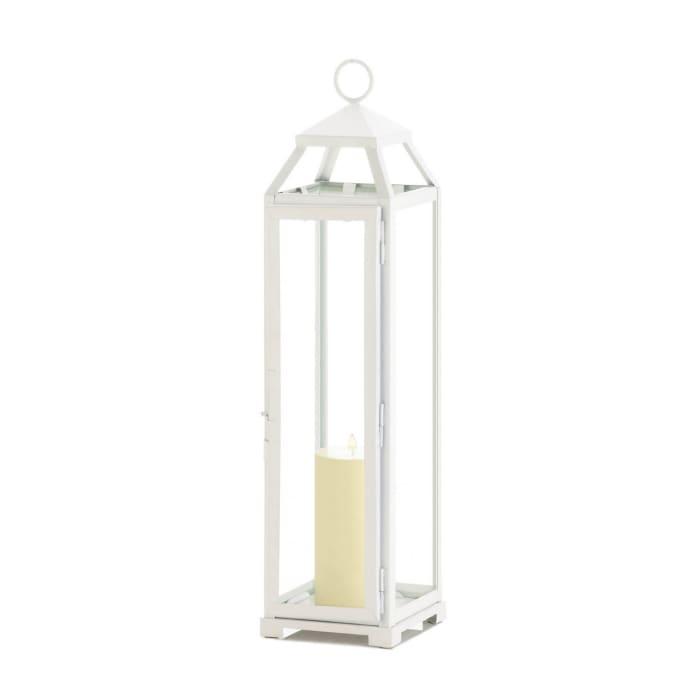 Tall Country White Open Top Lantern