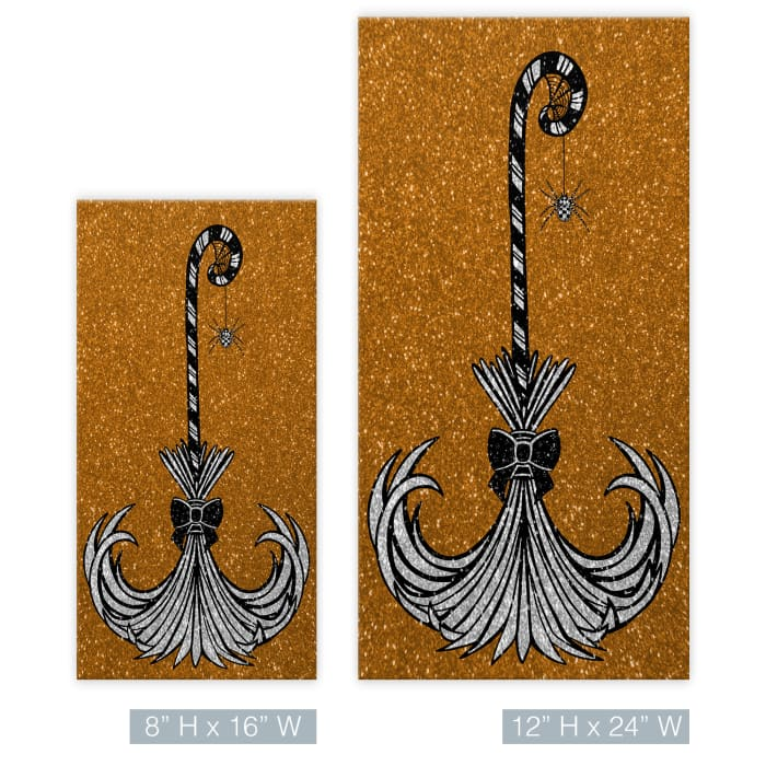 Glam Broomstick I Copper Halloween Canvas Wall Art