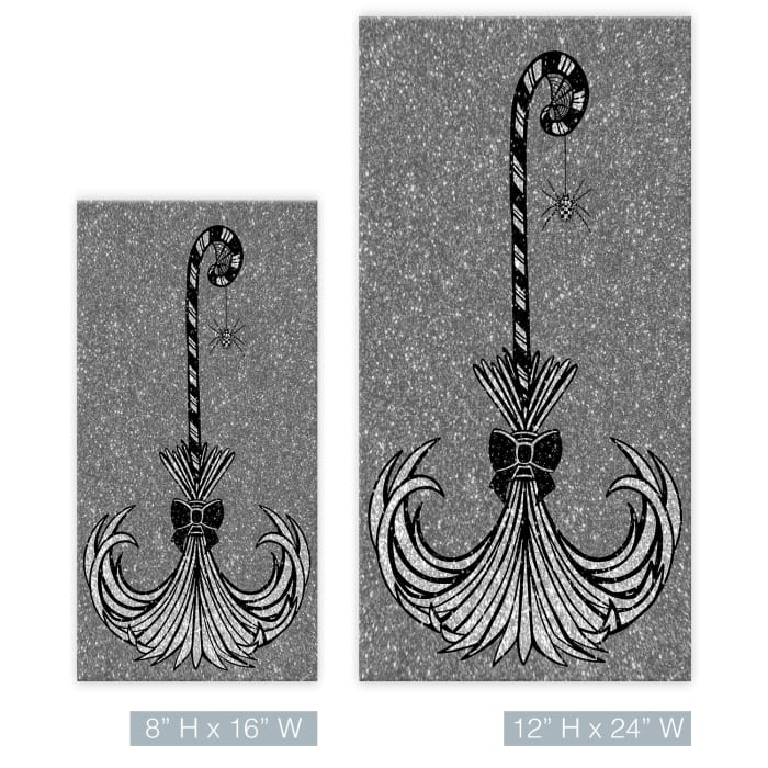 Glam Broomstick II Gray Halloween Canvas Wall Art