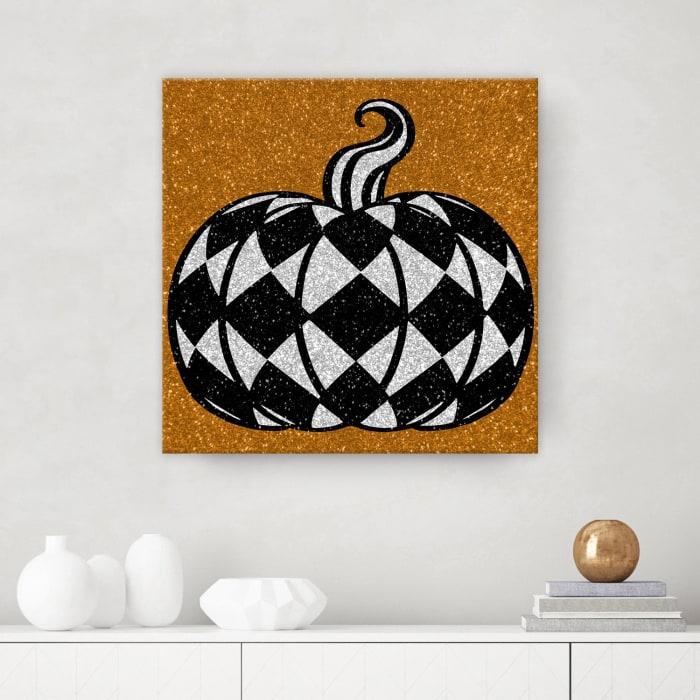 Glamoween Pumpkin III Copper Halloween Canvas Wall Art