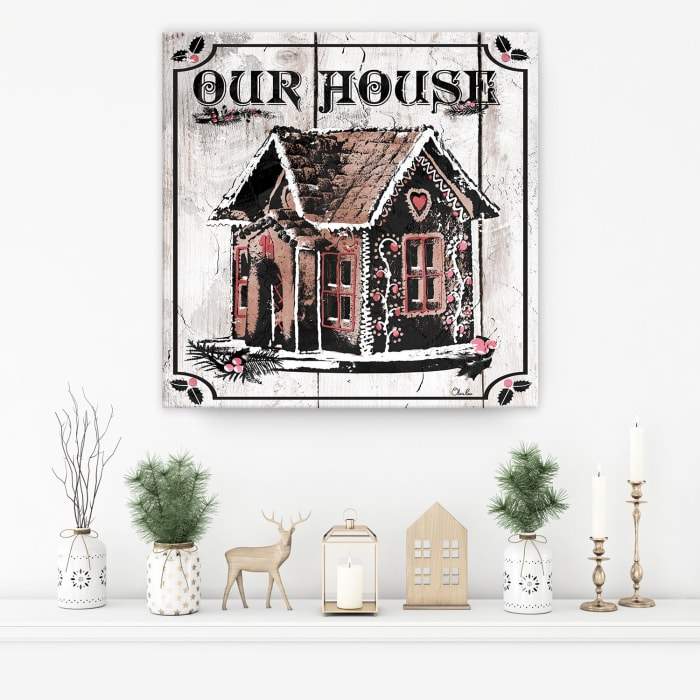 Gingerbread House Beige Holiday Canvas Wall Art