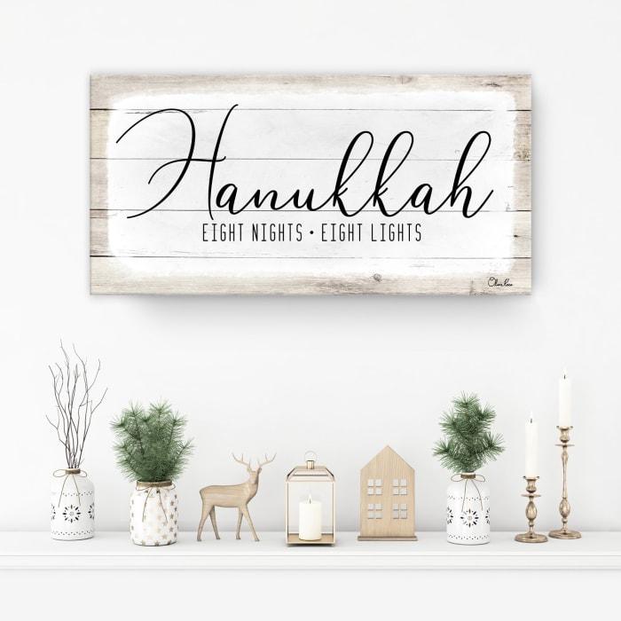 Hanukkah Holiday White Canvas Wall Art