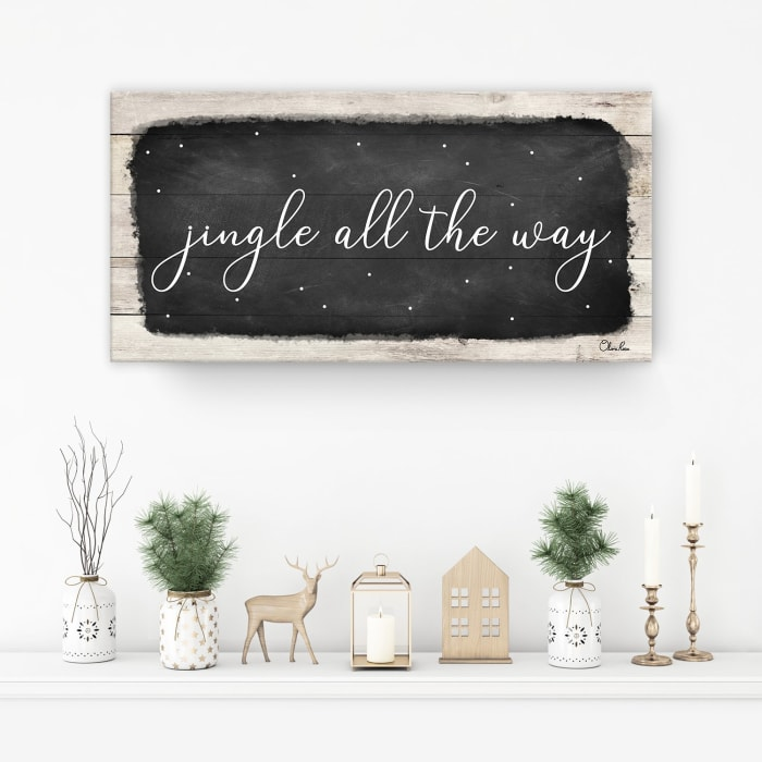 Jingle All the Way Black Holiday Canvas Wall Art