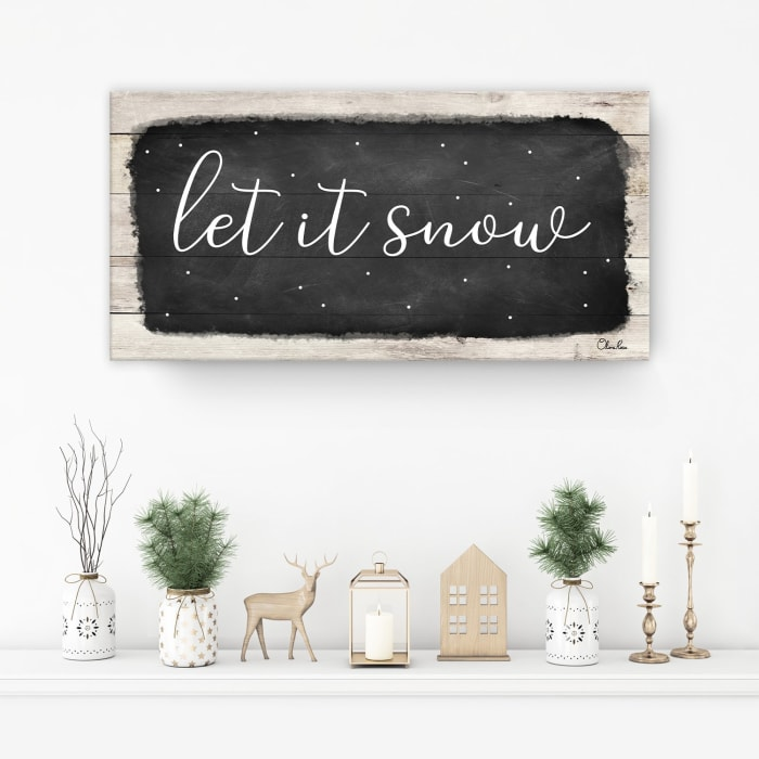Let it Snow Black Holiday Canvas Wall Art