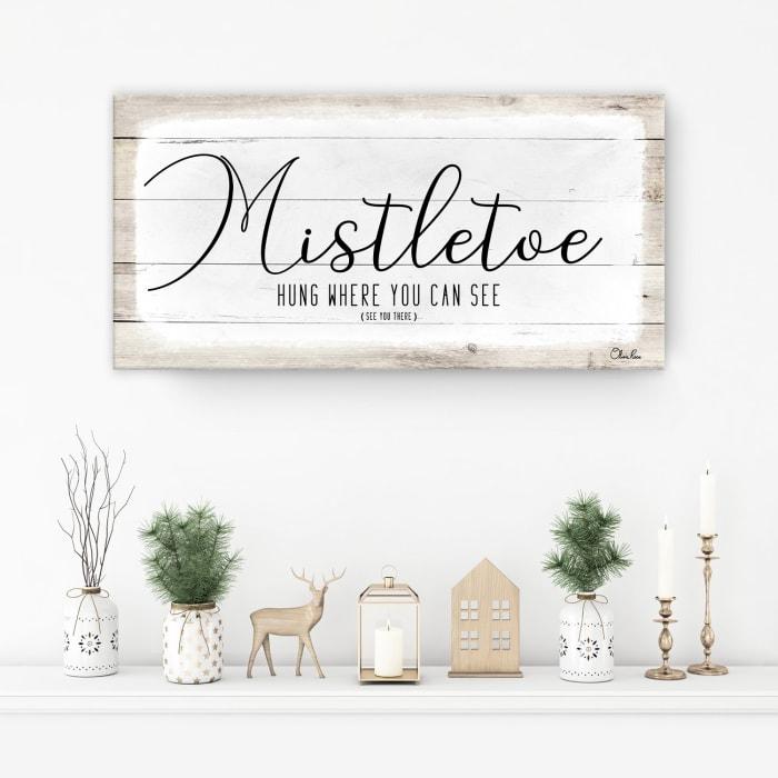 Mistletoe White Holiday Canvas Wall Art