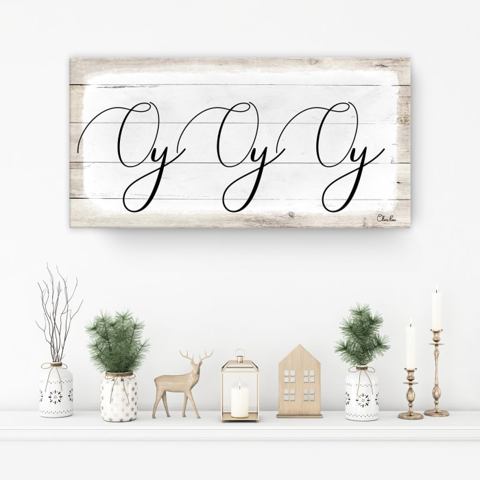 Oy Oy Oy II White Hanukkah Canvas Wall Art