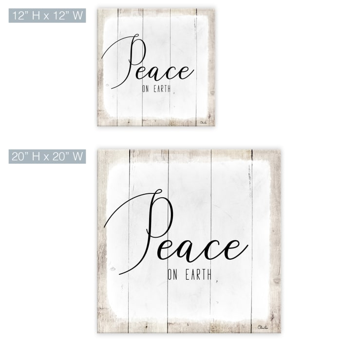 Peace on Earth II White Holiday Canvas Wall Art