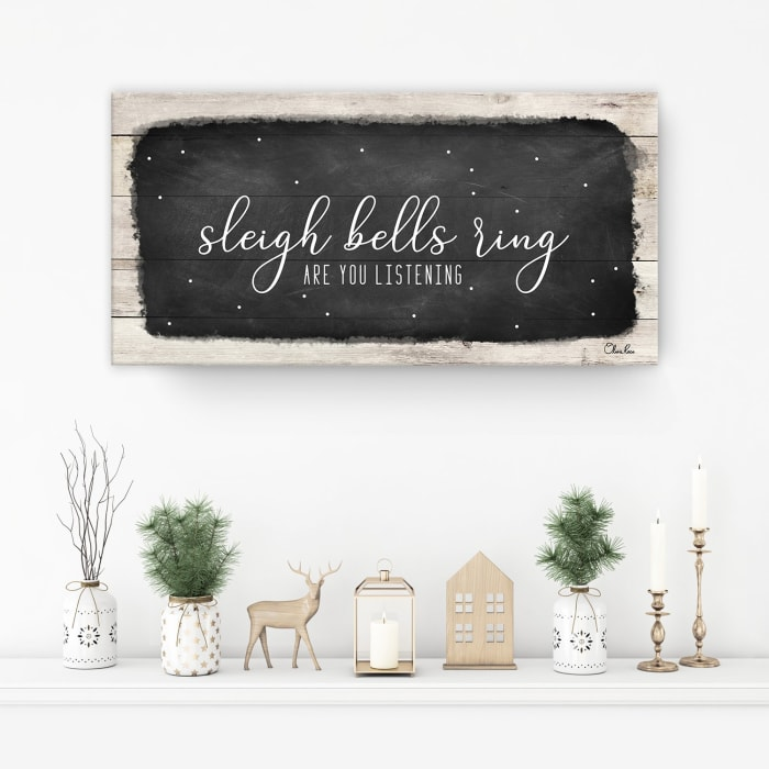 Sleigh Bells Black Holiday Canvas Wall Art