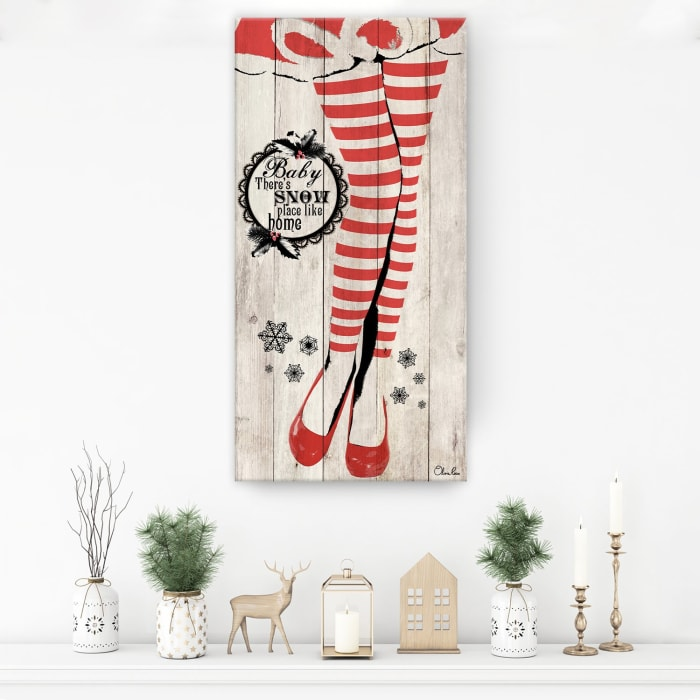 Snow Place Beige Holiday Canvas Wall Art