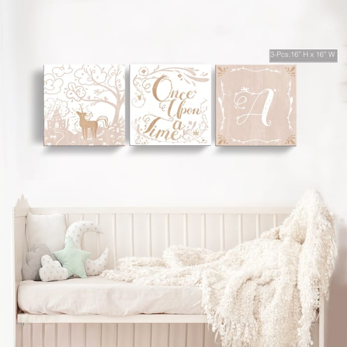 Once Upon a Time 3-Pc  Canvas Monogram Nursery Wall Art Set - K