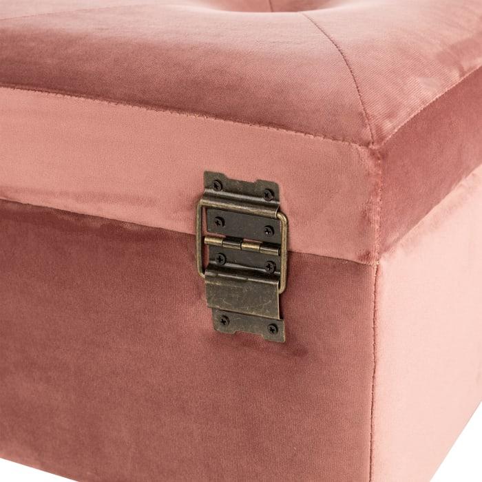 Pink Clay Velvet Upholstered Storage Stool