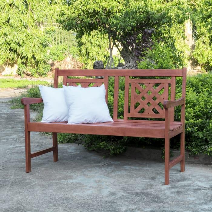 4-foot Brown Eucalyptus Wood Outdoor Garden Bench