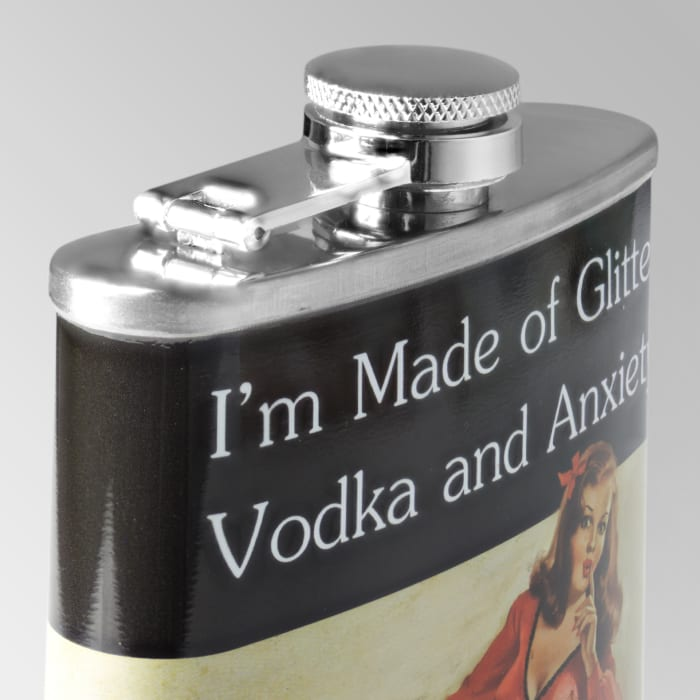 I'm Made of Glitter Vodka & Anxiety Stainless Steel Liquor Flask