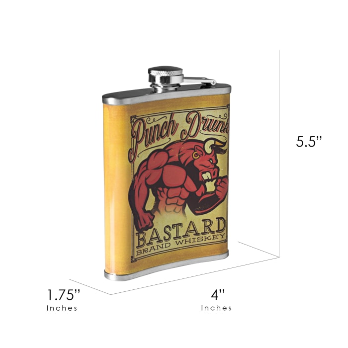 Punch Drunk Bastard Whiskey Stainless Steel Liquor Flask