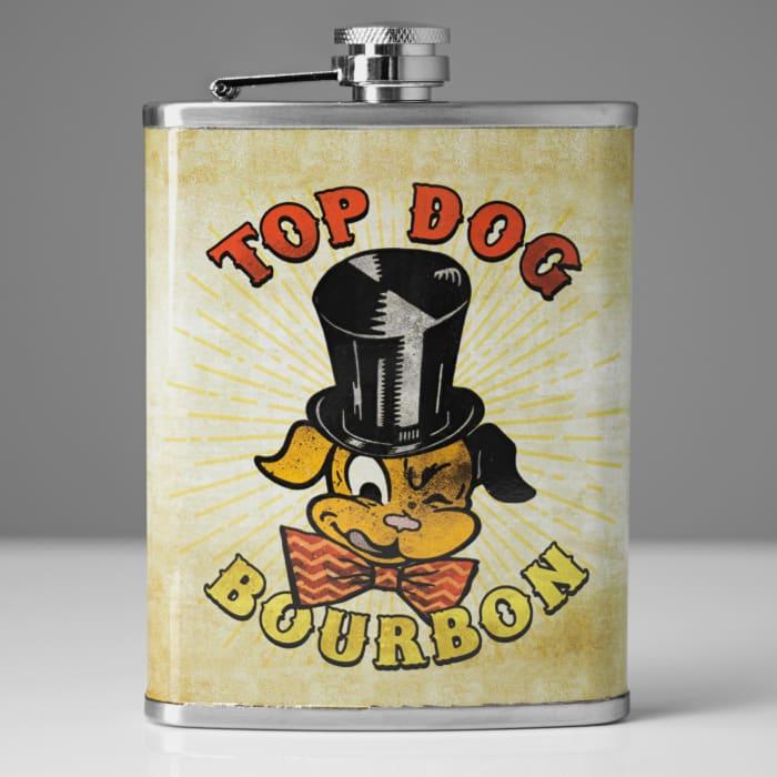 Top Dog Bourbon Stainless Steel Liquor Flask