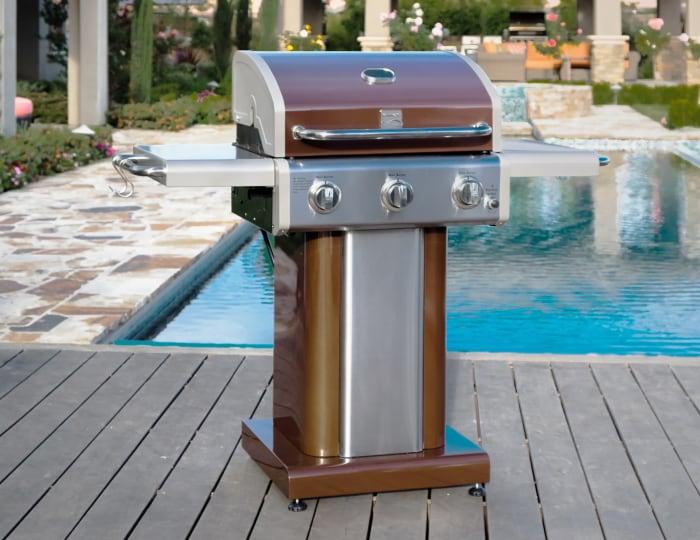 Kenmore 3 Burner Pedestal Grill with Folding Side Shelves in Mocha