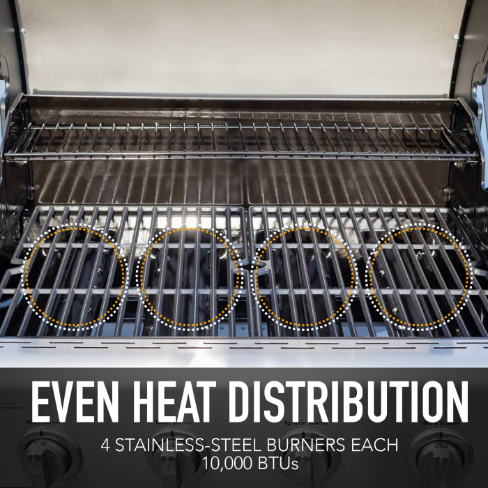 Kenmore 4 Burner Open Cart Grill with side Burner and Stainless Steel Lid