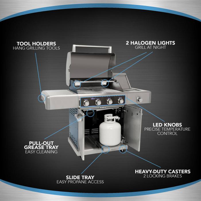 Kenmore Elite 4 Burner Metallic Carbon Grey Heavy Duty Grill with Cast Iron Side Burner with Halogen Lights