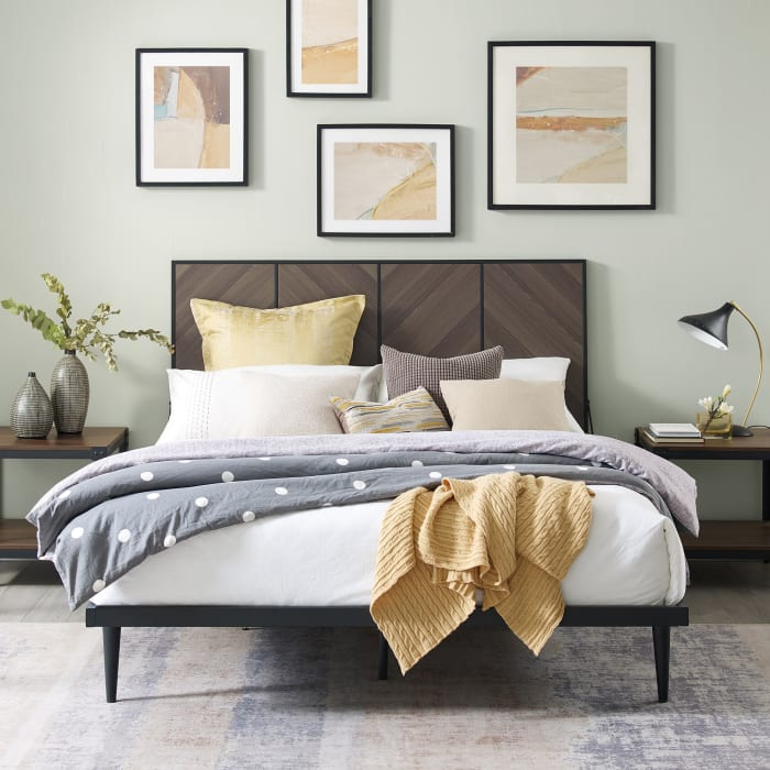 4 Panel Metal and Wood Queen Platform Bed - Ash Brown Bookmatch