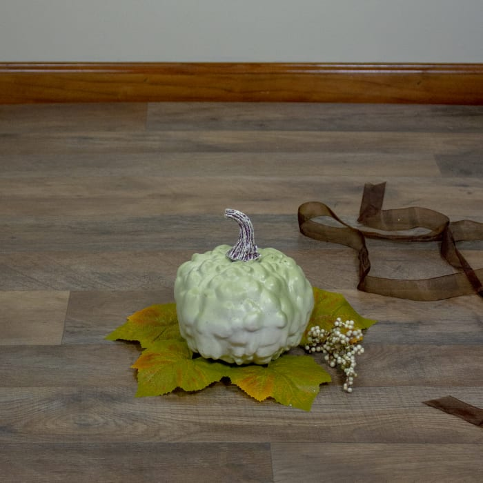 Green Textured Pumpkin Fall Harvest Table Top Decoration