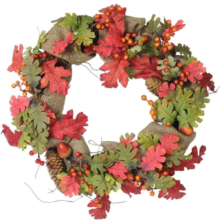 Autumn Harvest Acorn Berry and Burlap Rustic Thanksgiving Wreath