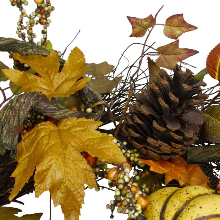 Sunflower  Pumpkin  Foliage and Pine Cone Fall Harvest Wreath - Unlit