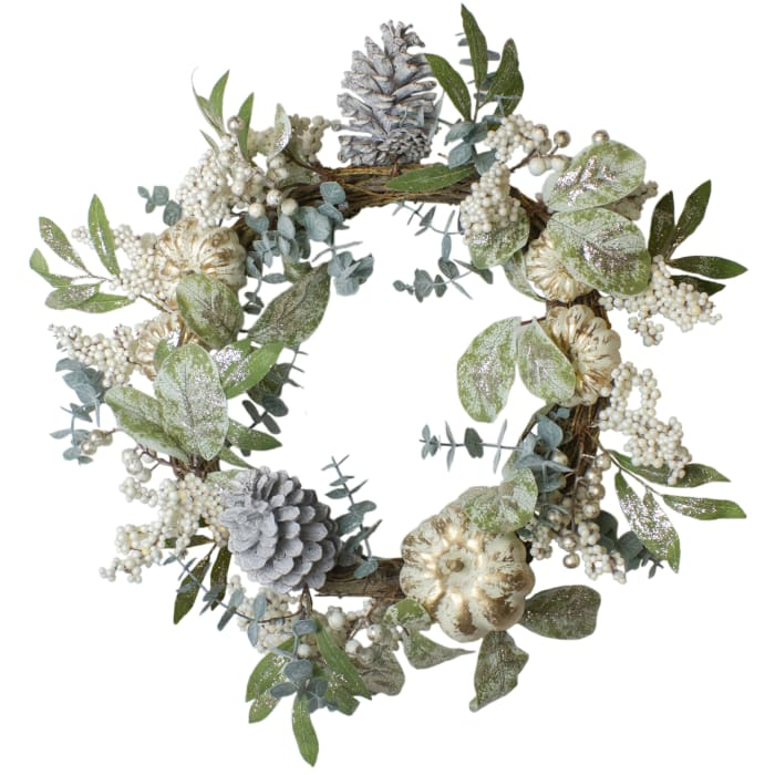 Neutral Colored Pumpkin and Pine Cones Fall Harvest Wreath - Unlit